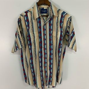 Vintage Wrangler Aztec Style Pearl Snap Button Up